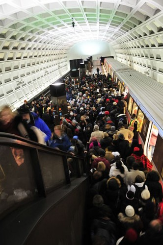 Metro riders on Inauguration Day, January 20, 2009.
